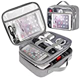 Clear Electronics Organizer, Matein Travel Cable Organizer Bag Large Cord Organizer Case with Double Layer gadget organizer for Electronic Accessories, Charger, Ipad Mini Electronic Gifts for Men