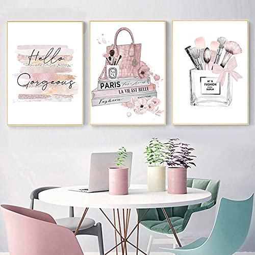 ZYQYQ Cuadros Decoración Lienzo Mural Obra de arte Cartel de moda Impresiones de perfumes Maquillaje Pintura Libros Carteles Belleza Mujer Imágenes para la de la sala de estar 50x70cmx3 Sin marco