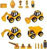GLOBAL IGO. Nehmen Sie Spielzeug, 4 in 1 DIY. Kinderstammbauwagen mit Bagger, Ladewagen, Straßenwalze, Bohrgerichtwagen für Jungen Mädchen Alter 3 4 5 6 7 Jahre alt