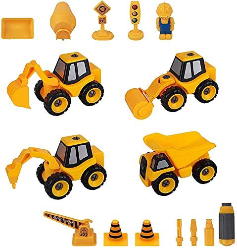 Archile desarmar juguetes, 4 en 1 BRICOLAJE Niños Stem camiones de la construcción con la excavadora, cargando coche, camino de rodillos, taladro coche plataforma for Niños Niñas Edad 3 4 5 6 7 años e