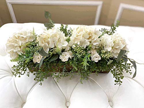 Mommykimstylefarmhouse Hydrangea Centerpiece With Greenery Silk Flower Dining Table Center Piece Kitchen Island Centerpiece Mantel Decor Dailymail