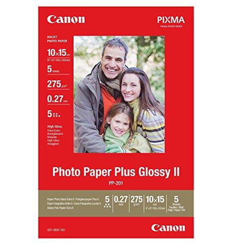 Canon Fotopapier PP-201 glänzend - 10x15 cm 5 Blatt für Tintenstrahldrucker - PIXMA Drucker (275 g/qm)
