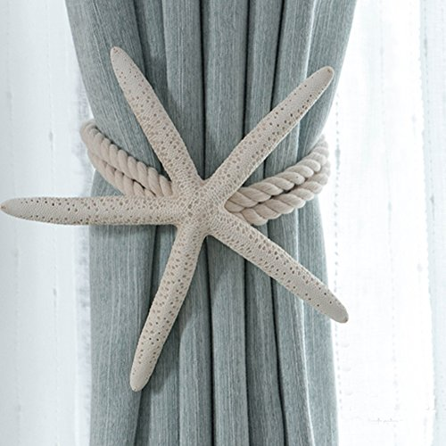 CHICTIE 2 Pieces Natural Starfish Curtain Tieback Rope Drapery Holdbacks Cotton Tie Band Room Décor Nordic Bedroom Decorations