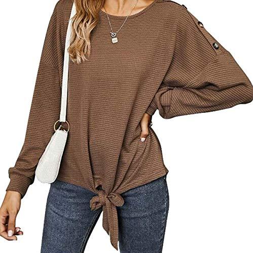 J.Apperal. Mujeres abotonado manga larga punto color puro 、Pullover Tops suéter