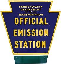 Pennsylvania State Emissions Station Sign. Keystone & Emissions Plate