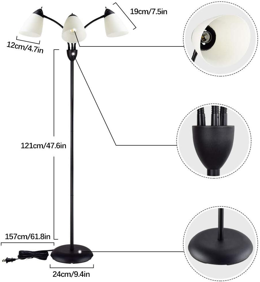Modern Metal Tall Pole Standing Lights Adjustable Reading Lighting for Living Room Bedroom Office Home Decor Black E26 Base LED Bulbs Included DLLT 3-Light Tree Floor Lamp