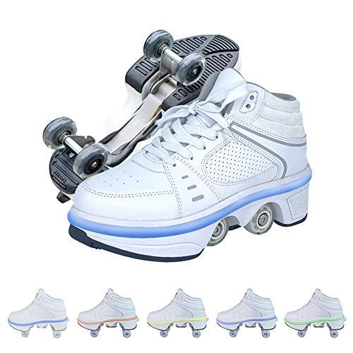 Doble Rodillo Zapatos De Skate, Zapatos Invisible De Polea De Zapatos Zapatillas De Deporte Luz Zapatos con Luces LED De Colores Zapatos Multiusos, Niños Zapatos con Ruedas,39