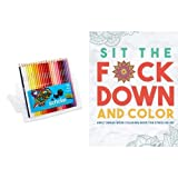 Sit the Fck Down and Color: Adult Swear Word Coloring Book for Stress Relief and Prismacolor Scholar Colored Pencils, Set of 48 Assorted Colors