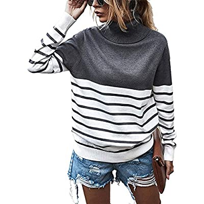 Amazon - 55% Off on Womens Casual Turtleneck Stripe Knit Pullover Sweater Long Sleeve Tops