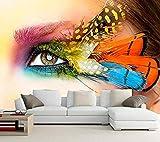 Ojos personalizados Plumas Primer plano Vistazo Maquillaje Fondos de pantalla Cosméticos Tienda Sala de estar TV Pa papel pintado pared dormitorio de estar sala de estar fondo No tejido-430cm×300cm