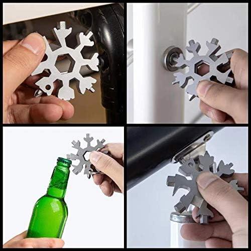 Black 18-in-1 Snowflake Multi Tool,Stainless Steel Handy Snowflake Wrench