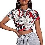 2021 Nueva Camiseta Casual Sexy De Verano para Mujer con Estampado De Cuello Redondo Y Manga Corta De AlgodóN