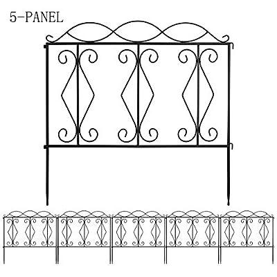 MORIGEM Decorative Garden Fence, 24in x 10ft Garden Edging Border, Rustproof Metal Fence Panels, Folding Pet Fence Barrier, Black Coated Fence for Lawn, Patio, Landscape & Flower Bed, Type 2