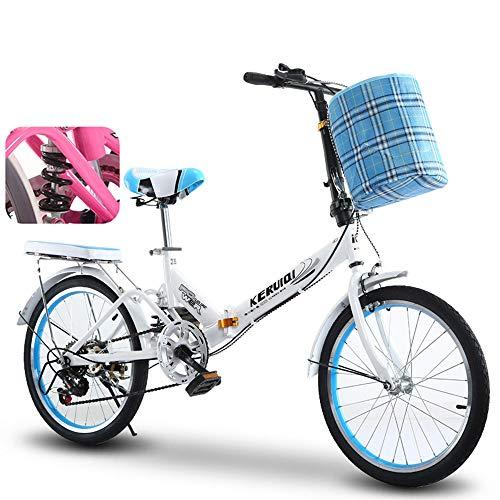 OFAY Bicicleta Plegable De 20 Pulgadas para Hombres Y Mujeres 6 Cambio...