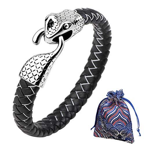 WLXW Colección de Viking Nordic, Pulsera de la Cabeza de Los Hombres Y de Las Mujeres del Acero Inoxidable de la Serpiente, Cuero de la Pulsera Trenzada, Fine Gift, Los 21.5CM,02