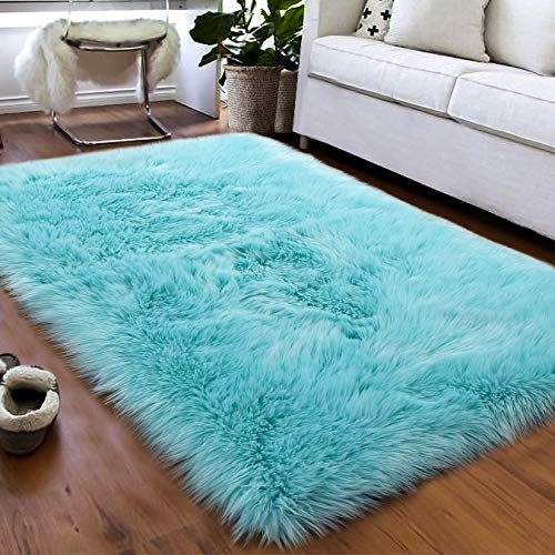 Softlife Faux Fur Sheepskin Area Rugs Shaggy Wool Carpet for Girls Room Bedroom Living Room Home...