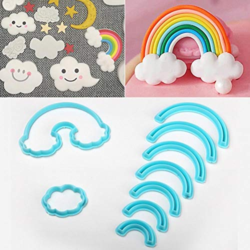 9pcs/Set Rainbow Cookie Cutter, 3D Printed Fondant Cookie Cutter Biscuit Mold for Cake Decorating Tools
