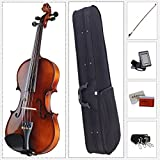 ADM Acoustic Violin 4/4 Full Size with Hard Case, Beginner Pack for...