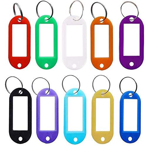SLKIJDHFB 50PCS Clave Etiquetas ID Llaveros etiquetas de plástico para llaves para la organización etiqueta de llavero 10 Colores