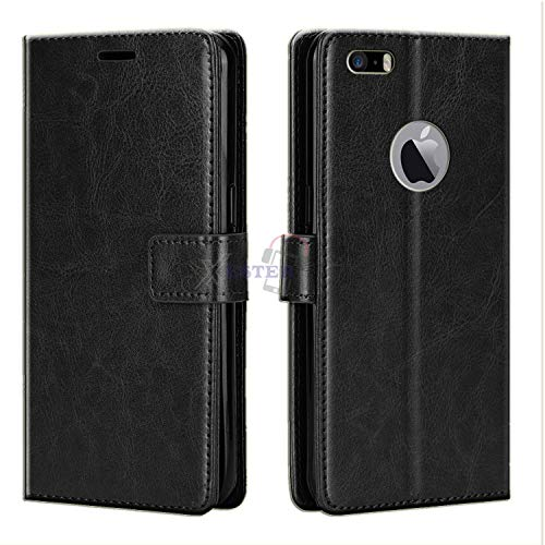 Xester® Vintage Leather Flip Cover Case Compatible with Apple iPhone 5S | Inner TPU | Foldable Stand | Magnetic Closure | Wallet Card Slots - Black