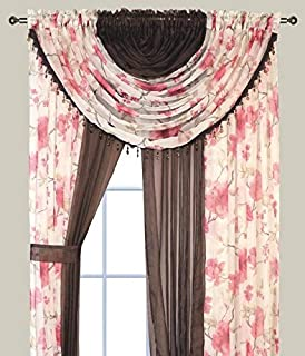 Elegant Home Complete Window Sheer Curtain All-in-One Set with 4 Panels and 2 Valances and Two Tiebacks for Living Room, Dining Room, Or Any Other Windows- Laura (Burgundy Blossom/Coffee Solid)