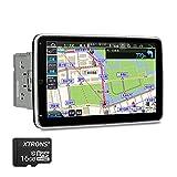 XTRONS カーナビ 2DIN 8コア Android10.0 一体型車載PC 10.1インチ IPS大画面 回転可能なモニター 4GB+64GB ゼンリン地図付 カーオーディオ Bluetoothテザリング 4G WIFI ミラーリング GPS マルチウインドウ表示 (TIB110L-MAP)