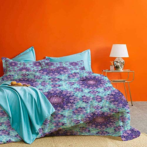 Purple Duvet Cover Bedding Sets Geometric Mosaic Fractal Sign of Universe Graphic Art Best Material/Highly Durable Sky Blue Teal Mauve Lilac 3pcs (1 Duvet Cover and 2 Pillowcases) Twin Size