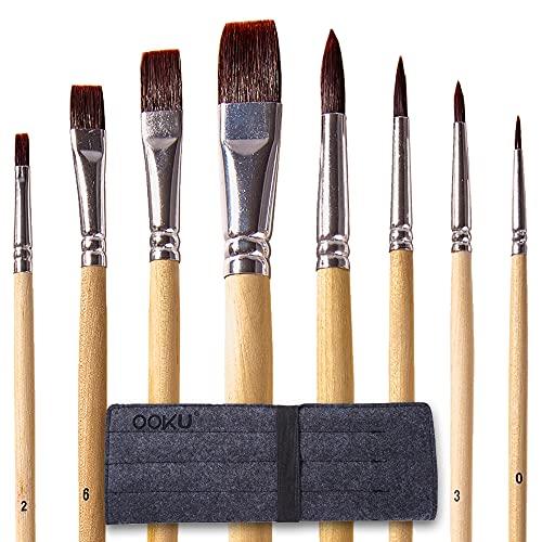 OOKU Paint Brush Set - 8 PC Flat & Fine Watercolor Brushes - Anti-Shedding Nylon Hair Acrylic Brush   Durable Artisit Paint Brushes for Acrylic Painting Oil Water Colors