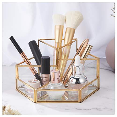 Organizador de cosméticos, 7 códigos, Organizador de Maquillaje, Bandeja de Belleza, Soporte para brochas de joyería, Caja de cosméticos de Vidrio Dorado, Bandeja Decorativa Transparente