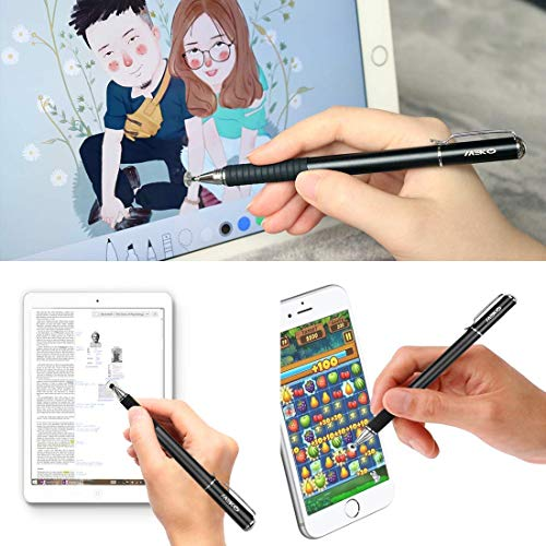 MEKO 2 in 1 Kapazitive Precision Disc Eingabestifte für alle Touch-Screen-Smartphones & Tablets (Schwarz/Silber)
