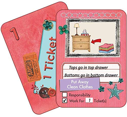 NEATLINGS Chore Cards Self-Care Deck ? 34 Self-Care Chores & 21 Ticket Cards ? Reward & Responsibility ? Pink