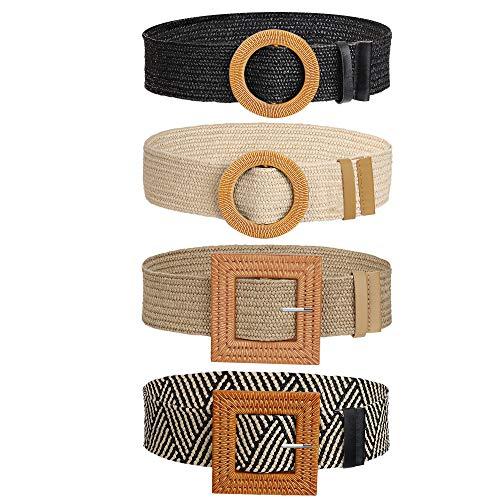 Cinturón de Vestir Tejido, Cinturón Vintage Flaco Bohemio con Hebilla de Madera, Decorativo Casual Amplio Cinturilla Trenzada de Paja para Dama Niña (4 Piezas)