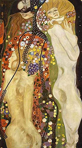 JH Lacrocon Gustav Klimt - Serpientes De Agua III Reproducción Cuadro Sobre Lienzo Enrollado 65X120 cm - Cuerpo Femenino Desnudo Pinturas Impresións Decoración Muro