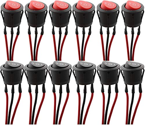 RUNCCI-YUN 12pcs ON/OFF/ON SPST,Interruptor Basculante Redondo,3 Posicion Interruptor Basculante,Barco Interruptor Mecedora,Interruptor Coche Rocker Interruptor AC 250V/6A, 125V/10A