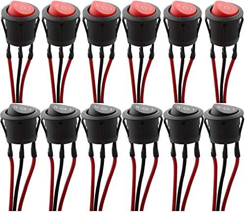 RUNCCI-YUN 12 Pezzi interruttore a bilanciere rotondo,Mini interruttore a bilanciere,on/off/on 3 Pin 3 Posizione SPST interruttore a bilanciere AC 6A/125V 10A/250V (Interruttore precablato)