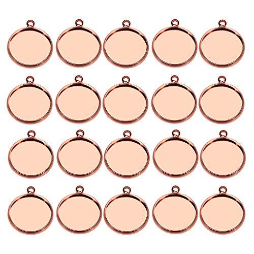 kowaku 20 Piezas 12/10 / 14mm Collar Joyas DIY Colgantes en Blanco Base de Configuración de Cabujón - Oro Rosa, 10mm