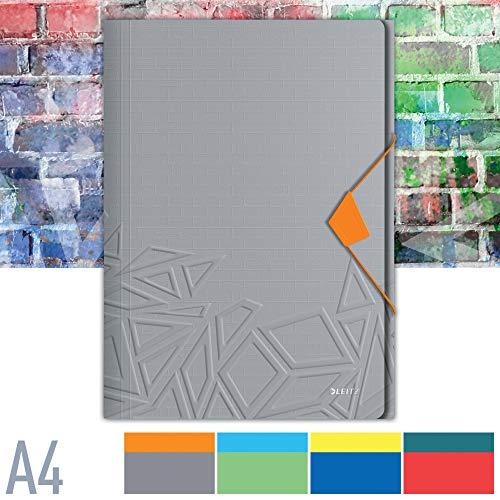 Leitz Urban Chic Eckspannermappe für bis zu 150 Blatt in A4 Format, Gummibandverschluss, Kunststoff, Grau, 46490088