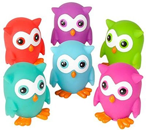 Mini Rubber OWLS (Pack of 12) bright colors - can squirt water for bath time fun!