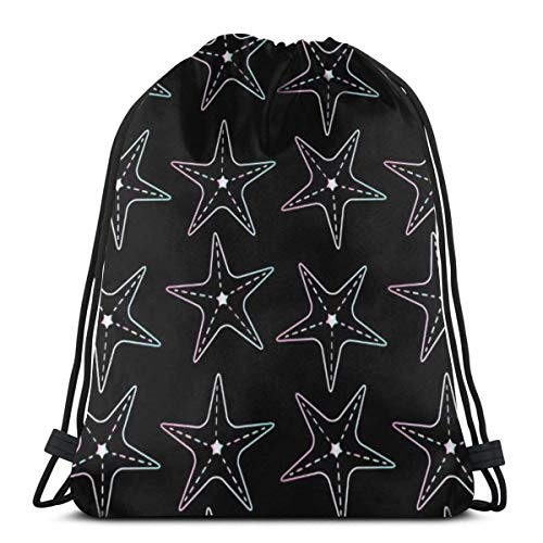 BXBX billig Bags Seamless Pattern Holographic Star Fish On Black Draw String Gym Bag Nap Sac DAP Bag Pumps Bag DAP Sac PE Bag Boot Bag