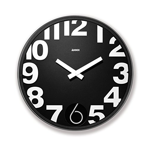 Addex Design TA185/N - Reloj de Pared, Color Negro