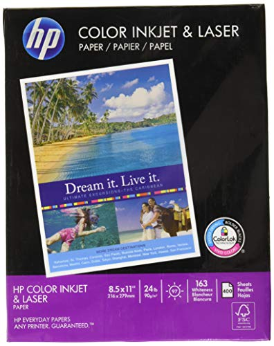 HP Printer Paper, ColorPrinting24, 8.5 x 11, Letter, 24lb, 97 Bright, 400 Sheets/1 Ream (202040R) Made In The USA (Packaging may Vary)