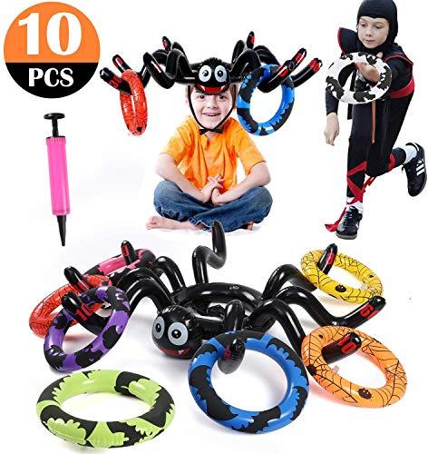vamei Halloween Spinne Wurfspiele für Draußen mit aufblasbaren Wurfringen und Pumpe für Kinder Halloween Party