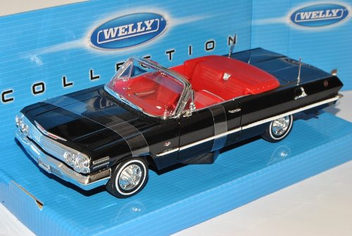 Welly Chevrolet Impala Cabrio Schwarz 1963 Oldtimer 1/24 Modell Auto