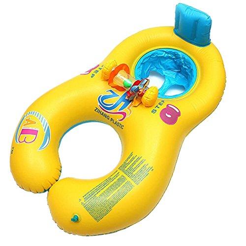 Wishliker Juguete del Anillo de la natación de la Persona Doble para los niños(mamá y bebé),Flotador de Piscina para bebé, Asiento Flotante para bebé de Seguridad(1-3 años)