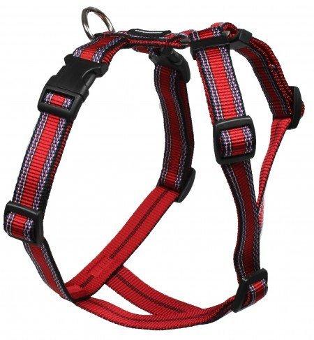 Feltmann Mopsgeschirr Hundegeschirr Soft Nylon, Rot mit Muster, 7-13 kg, 20mm