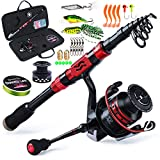 Sougayilang Telescopic Fishing Rod Combos with Protable Fishing Pole Spinning Reels Fishing Carrier Bag for Travel Saltwater Freshwater Fishing(2.4M/7.87FT)