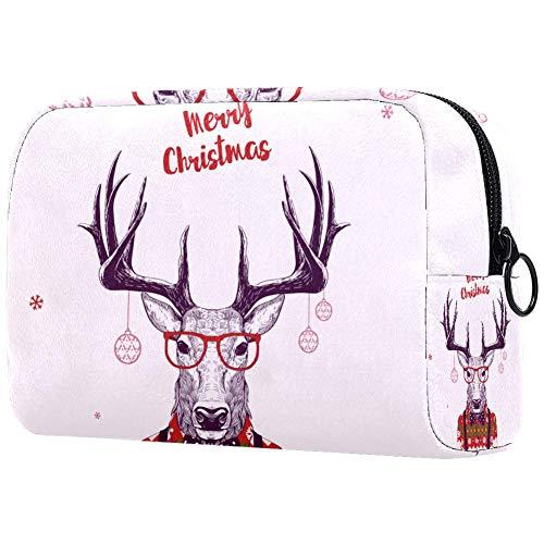 TIKISMILE Christmas Nerd Hipster Deer Large Makeup Bag Toiletry Bag Travel Cosmetic Bag Portable Makeup Pouch for Women Girls