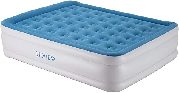 Tilview Upgrade Queen Size Air Mattress Blow Up Elevated Raised Air Bed Inflatable Airbed With Built In Electric Pump Storage Bag And Repair Patches Included Thickness Increase Version Dark Blue