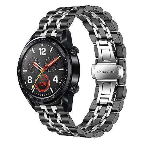 TRUMiRR Ersatz für Galaxy Watch3 45mm/Huawei Watch GT 2 46mm/GT Sport 46mm/Watch GT 2e Armband, 22mm Edelstahl Uhrenarmband Quick Release Metall Armband für Huawei Watch GT Active/Elegant/Classic