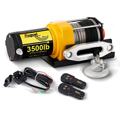 RUGCEL Winch Waterproof IP68 Winch with Hawse Fairlead, Synthetic Rope, 2 Wired Handle and 2 Wireless Remote (3500 lb.Load Capacity)